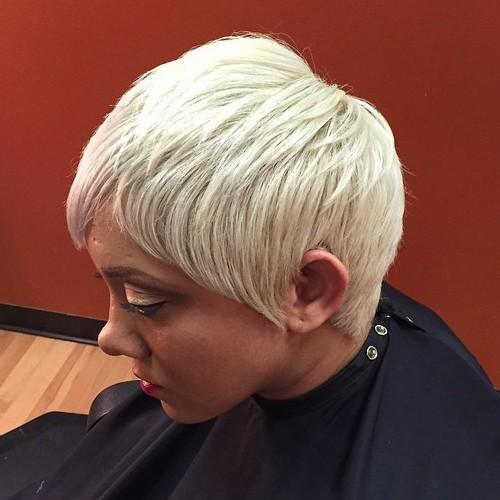 Platinum Blonde Feathered Pixie