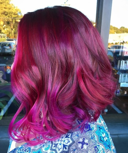 Dark Red and Purple Two Tone Hairstyle