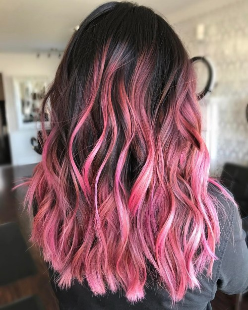 dark brown hair with pink balayage