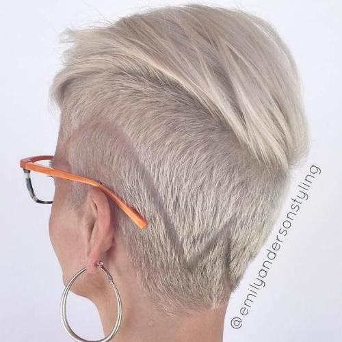 Short Ash Blonde Undercut Hairstyle