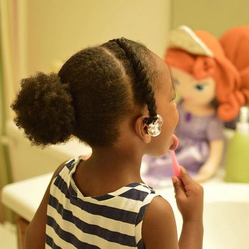 Image result for child with a beaded hair