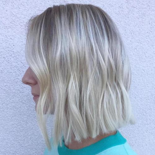 platinum blonde long bob