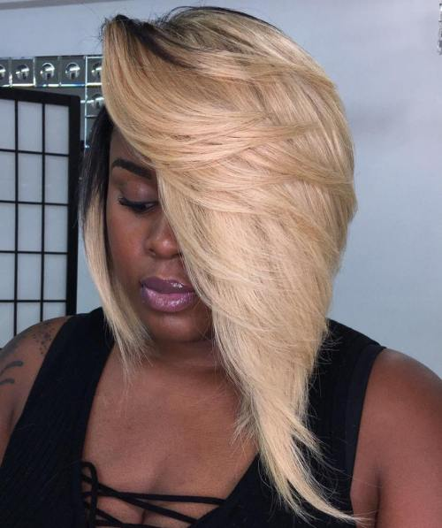 Asymmetrical Blonde Weave Bob