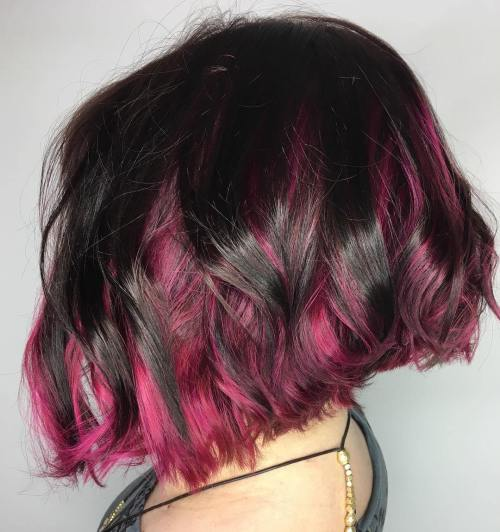 Black Bob With Burgundy Peek-A-Boo Highlights