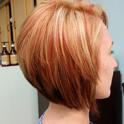 chin-length stacked red bob