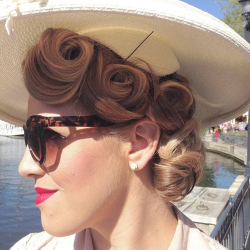 curly blonde pin up updo