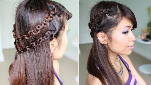 half updo with double chain braid
