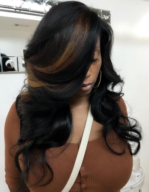 black side parted curly weave