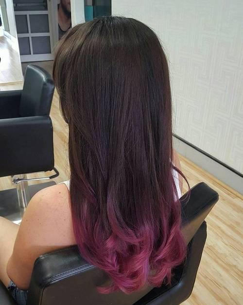 burgundy dip dye for dark brown hair