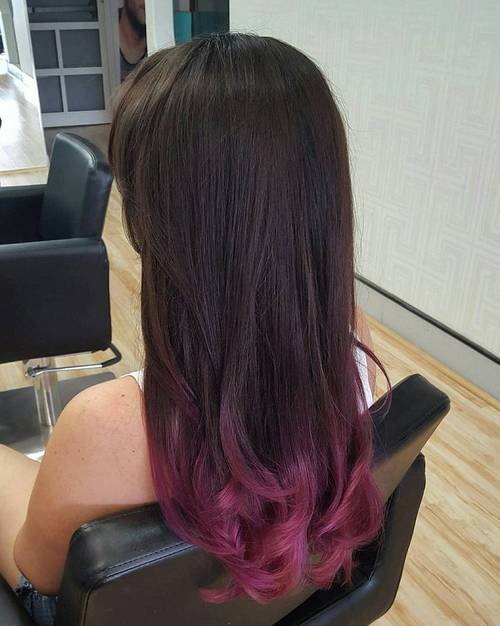 burgundy dip dye for dark brown hair