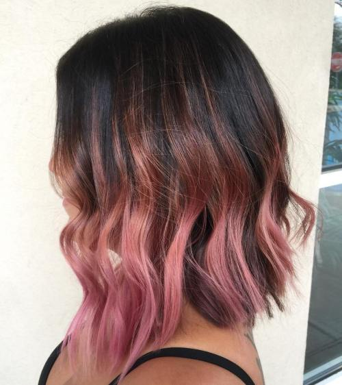 dark brown bob with pastel pink balayage