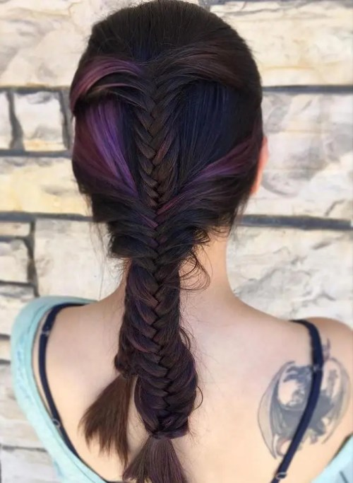 purple and violet peek-a-boo highlights for dark hair