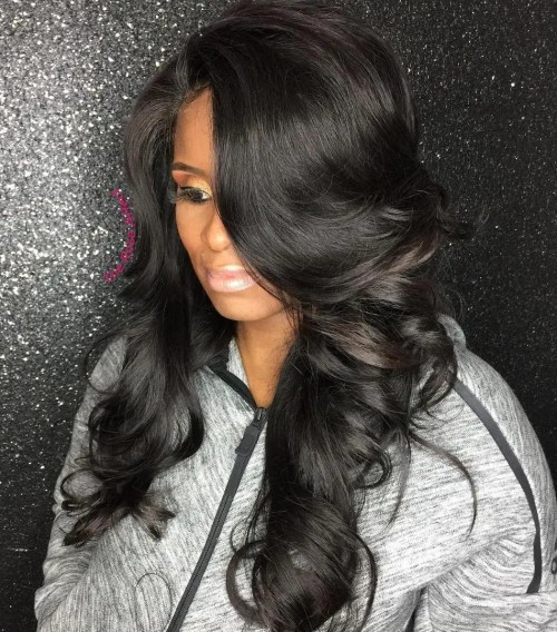 Black Long Sew In Hairstyle
