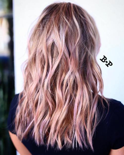 bronde hair with pastel pink highlights