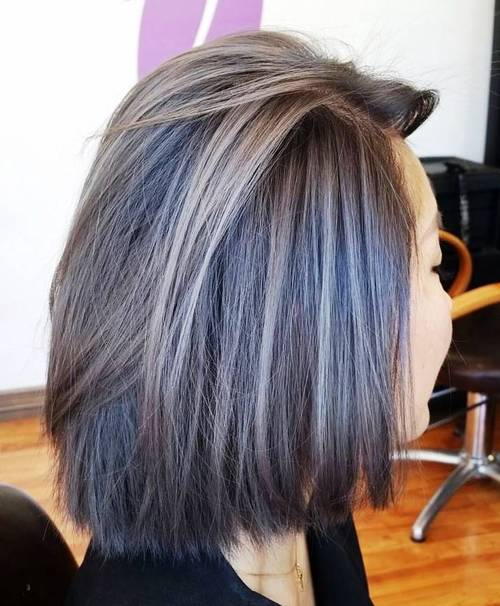 45 ideas of gray and silver highlights on brown hair brown bob with ash brown highlights solutioingenieria Image collections