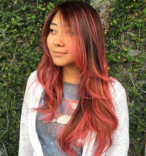 40 best pink highlights ideas for 2017 brown hair with pink ombre highlights pmusecretfo Image collections