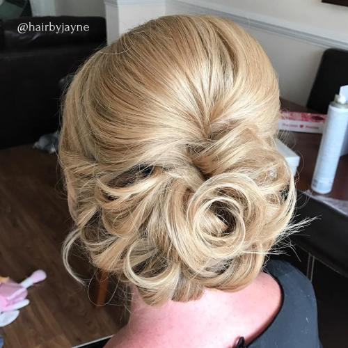Curly Blonde Bouffant Updo