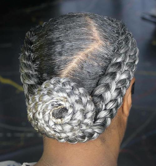 natural hair braided hairstyle for older women
