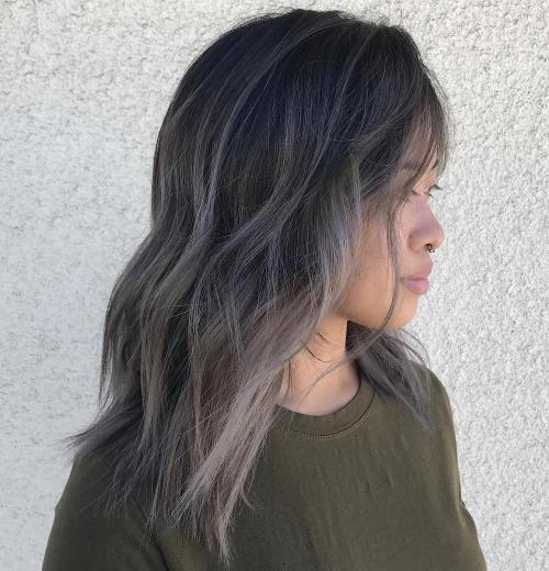 Black Hair With Soft Gray Balayage