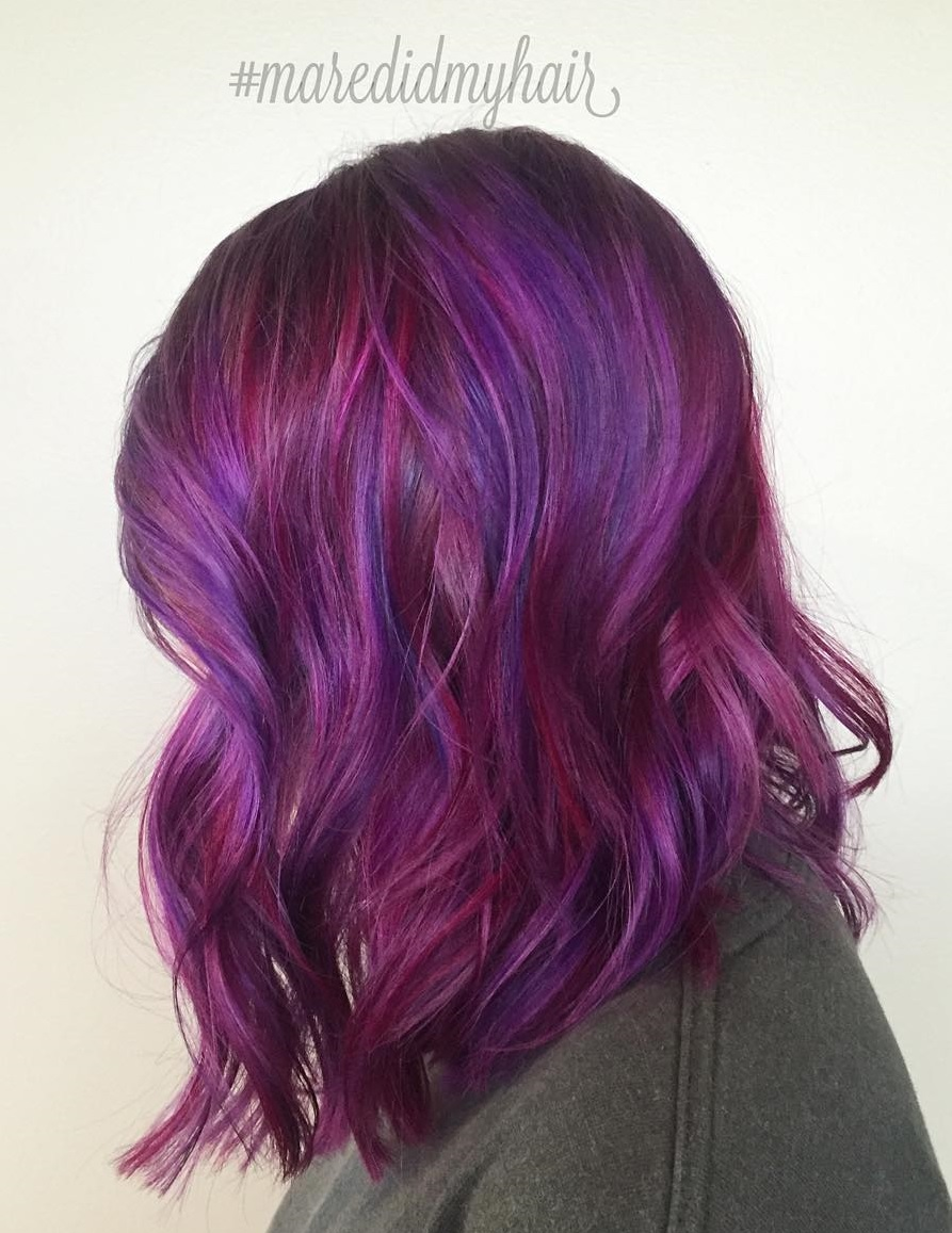 40 versatile ideas of purple highlights for blonde brown and red hair burgundy and purple hair color pmusecretfo Choice Image
