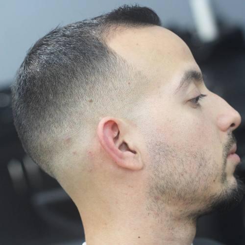 extra short buzz cut with fade for balding men