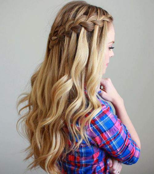 half updo with waterfall braid and curls