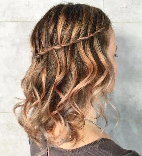 Two-Strand Waterfall Braid For Medium Hair