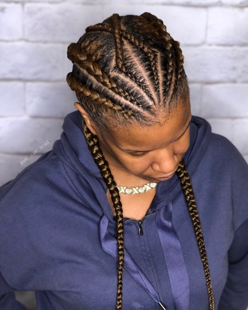 Angled Golden Brown Goddess Braids Hairstyle