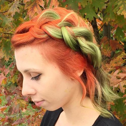 red hair with green balayage