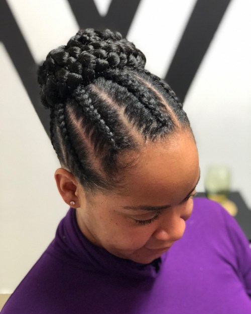 Cornrows With Braided Bun Updo