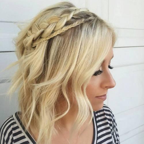 wavy blonde  bob with two braids