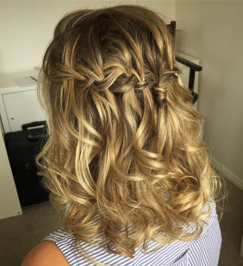 Curly Messy Waterfall Braid Hairstyle