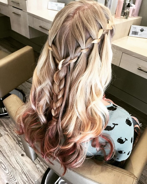 two waterfall braids hairstyle