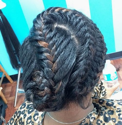 updo with curvy black braids