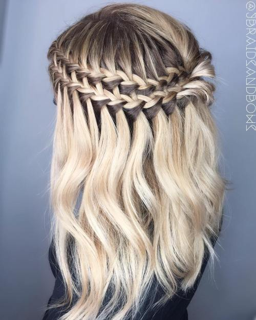 Double Waterfall Braid Half Updo