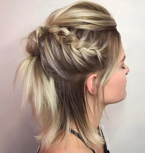 Funky Braided Half Updo For Bob