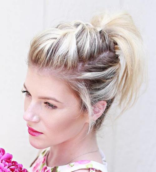 Braid And Pony Updo For Shorter Hair