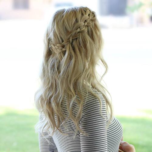 casual waterfall braid hairstyle
