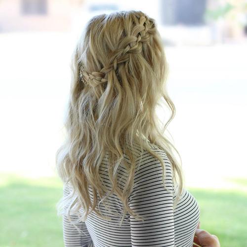 casual waterfall braid hairstyle