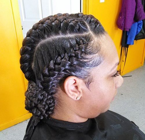 goddess braids updo with a low braided bun