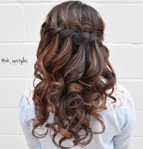 Curly Waterfall Half Up Half Down Hairstyle