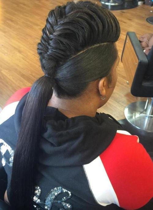 mohawk braid into pony for black women