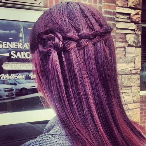 waterfall braid with a braided flower