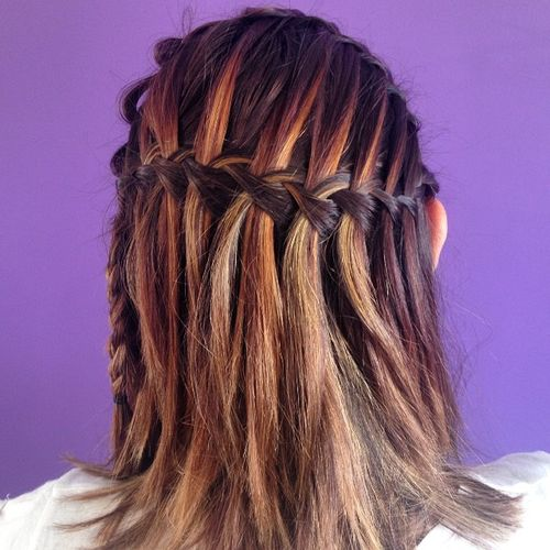 half up waterfall braid for medium hair