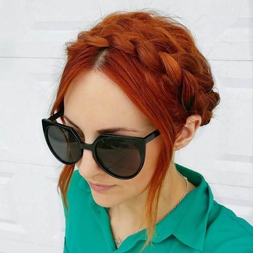 milkmaid braid updo for red hair