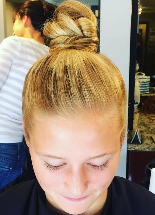 blonde twisted top knot