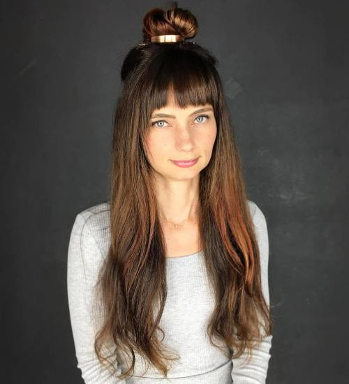 Top Knot Half Updo With Bangs