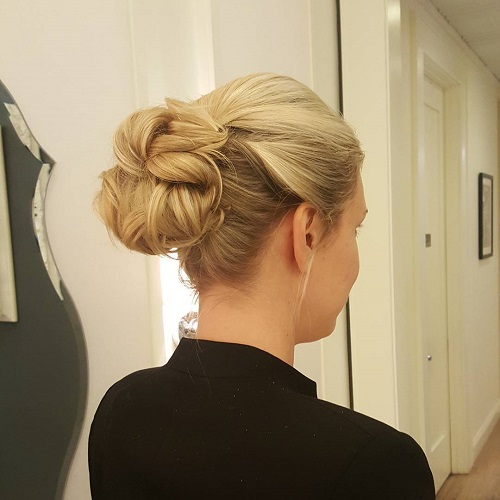cute blonde bun updo