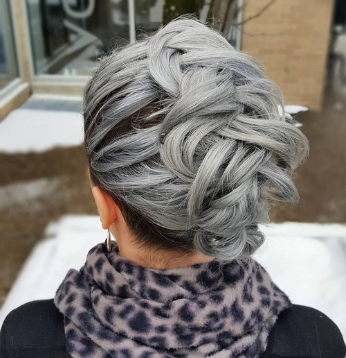 Grey Mohawk Braid Updo