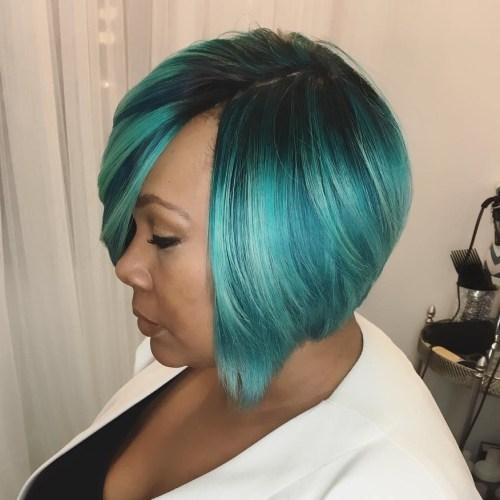 African American Pastel Teal Weave Bob